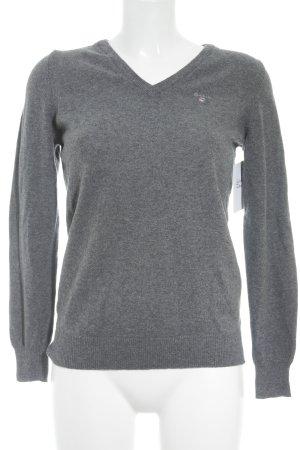 Gant V-Ausschnitt-Pullover grau Casual-Look