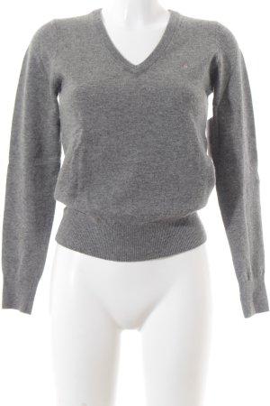Gant V-Ausschnitt-Pullover grau meliert klassischer Stil