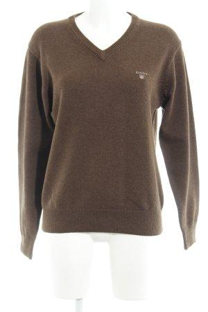 Gant V-Ausschnitt-Pullover hellbraun Casual-Look
