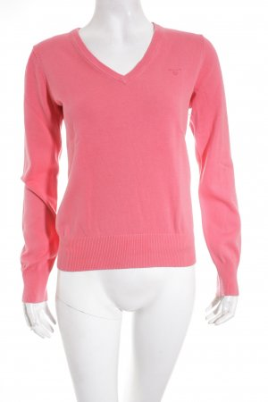Gant V-Ausschnitt-Pullover hellrot schlichter Stil