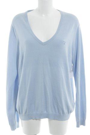 Gant V-Ausschnitt-Pullover himmelblau Brit-Look