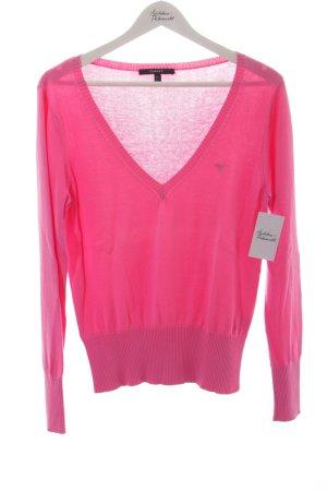 Gant V-Ausschnitt-Pullover rosa schlichter Stil