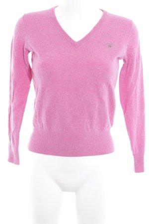 Gant V-Ausschnitt-Pullover rosa-violett meliert Business-Look