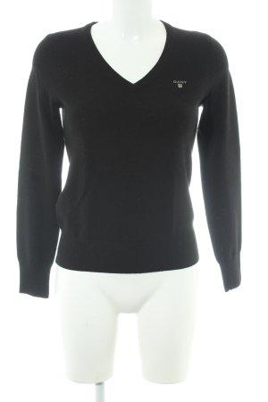 Gant V-Ausschnitt-Pullover schwarz Elegant