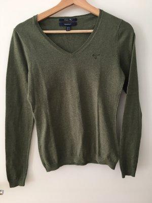 Gant V-Neck Sweater green grey