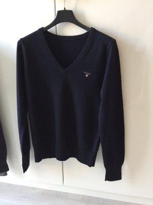 Gant V-Neck Sweater dark blue wool