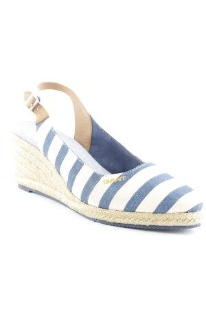 Gant Wedges Sandaletten blau-creme Streifenmuster klassischer Stil