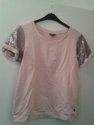 ganz besonderer leichter Pulli Pullover mit Paillenten rosa pastell