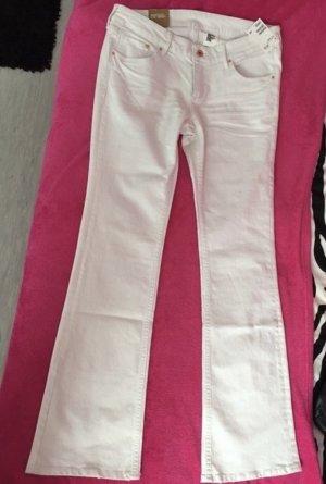 ganz neue boot cut low waist schlaghose in weiß