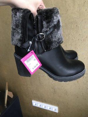 ganz neue boots in schwarz mit grauem fell