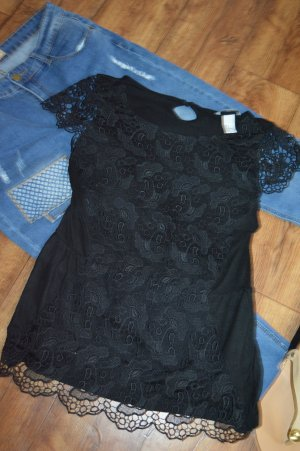 H&M Crochet Shirt black