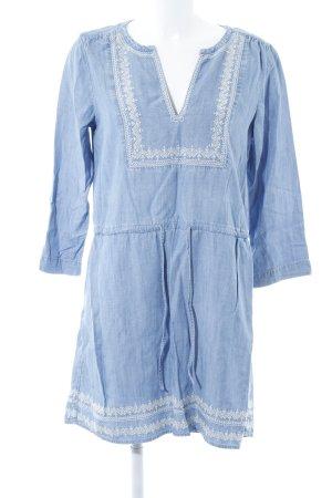Gap Blusenkleid wollweiß-himmelblau Jeans-Optik