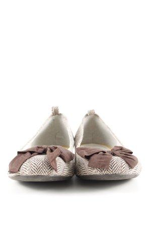 Gap faltbare Ballerinas weiß-braun Streifenmuster Casual-Look