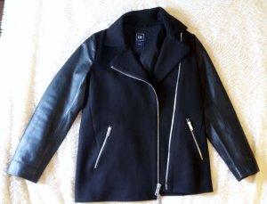 GAP Jacke Bikerlook mit Leder schwarz neuwertig