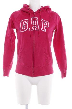 Gap Kapuzenjacke weiß-magenta Schriftzug gestickt sportlicher Stil