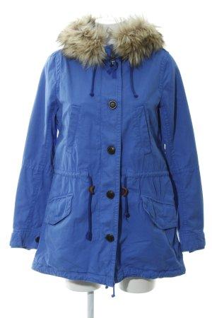 Gap Manteau à capuche bleu acier-beige Bordure en fourrure