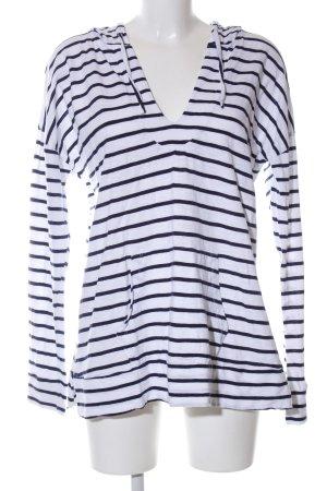 Gap Kapuzenpullover weiß-schwarz Streifenmuster Casual-Look