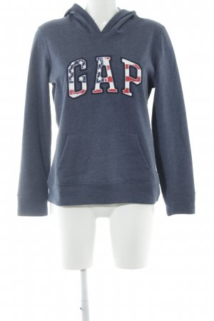 Gap Kapuzenpullover graublau Schriftzug gestickt schlichter Stil