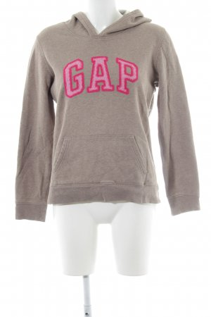 Gap Hooded Sweater grey brown-magenta embroidered lettering athletic style