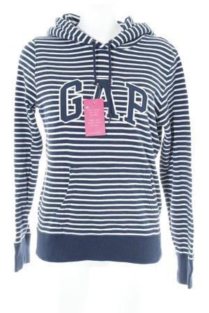 Gap Pull à capuche blanc-bleu foncé motif rayé style athlétique