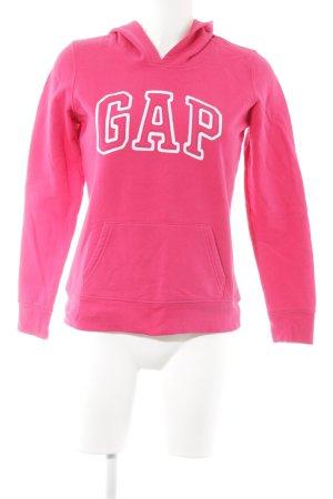Gap Kapuzensweatshirt magenta-weiß Schriftzug gestickt Casual-Look