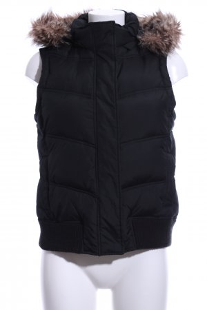 Gap Hooded Vest black quilting pattern casual look