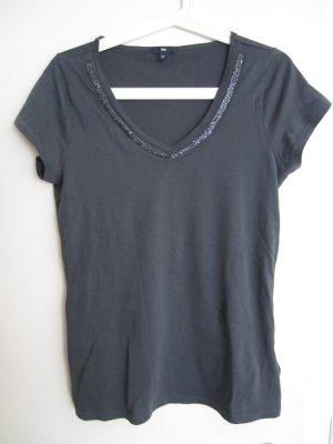 GAP Shirt grau S - M mit Pailletten V- Ausschnitt