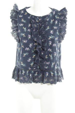 Gap Blouse en dentelle bleu acier motif de fleur style décontracté
