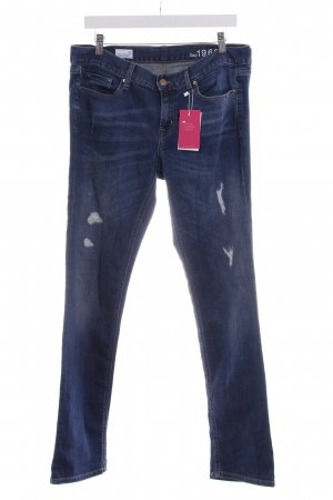 Gap Straight-Leg Jeans stahlblau Destroy-Optik
