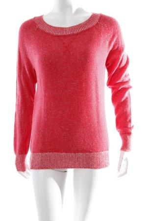 Gap Strickpullover rot-weiß meliert schlichter Stil