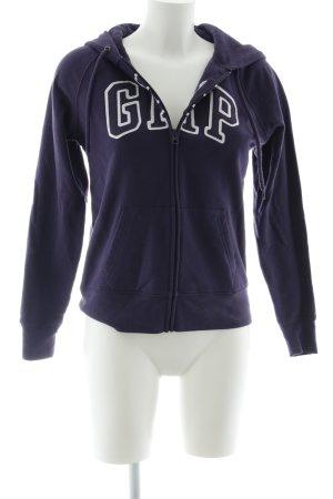 Gap Sweatjacke dunkelviolett-weiß Schriftzug gestickt Casual-Look