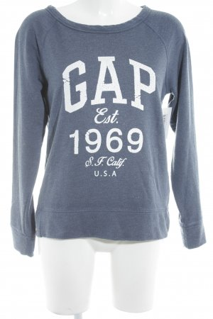 Gap Sweat Shirt slate-gray-natural white printed lettering athletic style