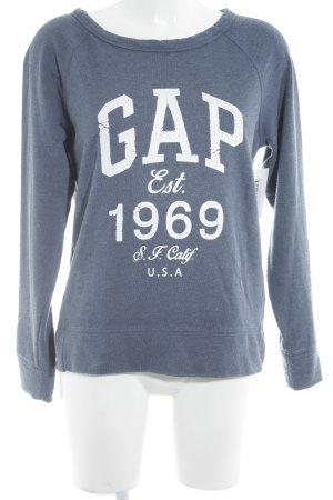 Gap Sweatshirt graublau-wollweiß Schriftzug gedruckt sportlicher Stil
