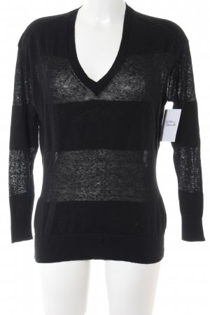 Gap V-Neck Sweater black striped pattern casual look