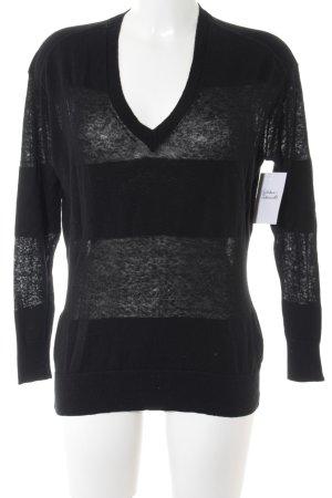 Gap V-Ausschnitt-Pullover schwarz Streifenmuster Casual-Look