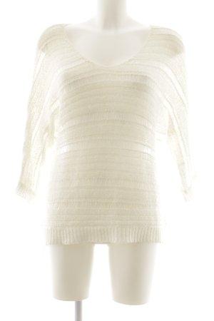 Garcia Jeans Pull en crochet blanc cassé Motif de tissage style décontracté
