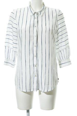 Garcia Jeans Hemd-Bluse weiß-blau Streifenmuster Casual-Look