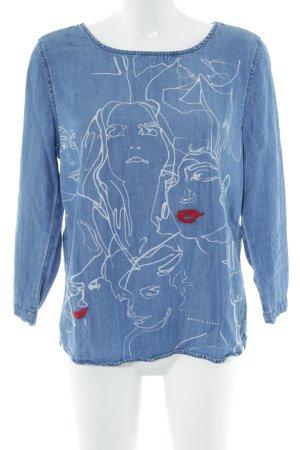 Garcia Jeans Blusa vaquera azul estampado repetido sobre toda la superficie