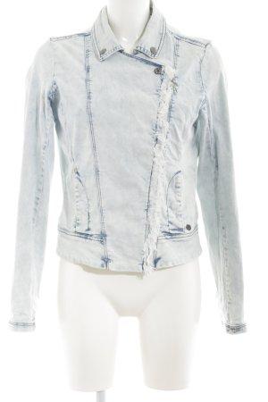 Garcia Jeans Jeansjacke hellgrau-blau Biker-Look