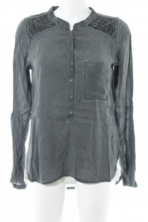 Garcia Jeans Langarm-Bluse grau-schwarz Casual-Look