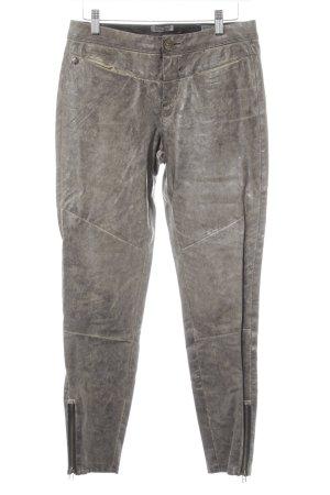 Garcia Jeans Lederhose graubraun Biker-Look