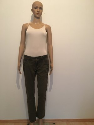 Garcia Jeans made i italy 38 regular fit denim colored khaki oliv stitching Reißverschluss cool lässig Marke Designer hochwertig edel lässig cool stretch