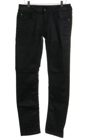 Garcia Jeans Röhrenhose schwarz Logo-Applikation aus Leder