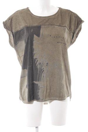 Garcia Jeans T-Shirt ocker-anthrazit abstrakter Druck Urban-Look
