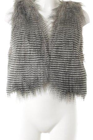 Garcia Vest van imitatiebont wolwit-zwart gestreept patroon romantische stijl
