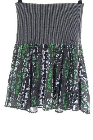 Garcia Jupe corolle noir-vert motif abstrait élégant