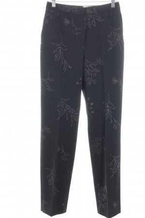 Gardeur Peg Top Trousers black-silver-colored floral pattern business style