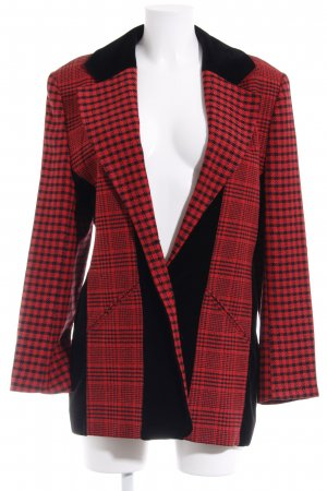Gardeur Long-Blazer schwarz-rot Karomuster Casual-Look