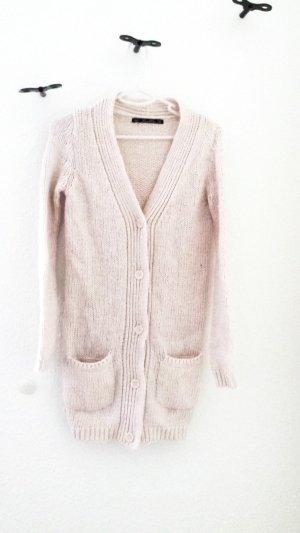 Zara Knit Knitted Cardigan cream-pink mixture fibre