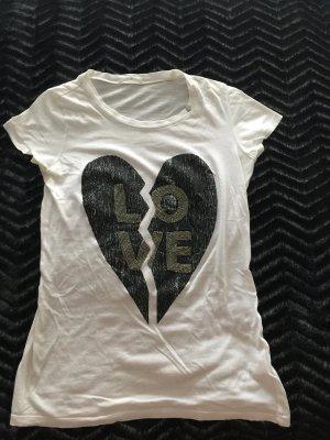 GAS Damen T- Shirt schwarz weiß m. Perlen Gr.36 Herz Love